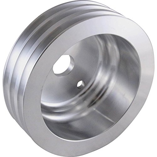 Eckler's Premier Quality Products 50-345199 Chevy Small Block Aluminum Crankshaft Pulley, Long Water Pump, 3 Groove (Pulley Chevy Aluminum)