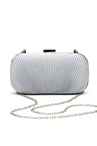 Women Clutch Purse Wallet Hard Case Satin Evening Bag Handbag With Chain Strap (silver)