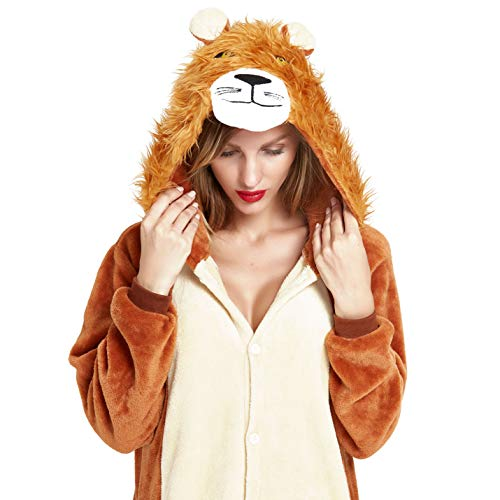NOUSION Licorne Unisex Adult Pajamas, Cosplay Christmas Unicorn Sleepwear Onesies Outfit (S, Lion)