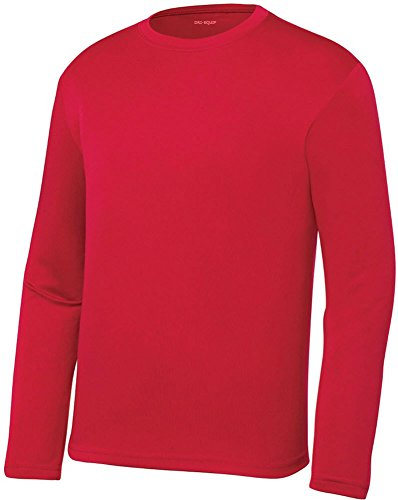 DRI-EQUIP Youth Long Sleeve Moisture Wicking Athletic Shirts. Youth Sizes XS-XL, True Red, Medium