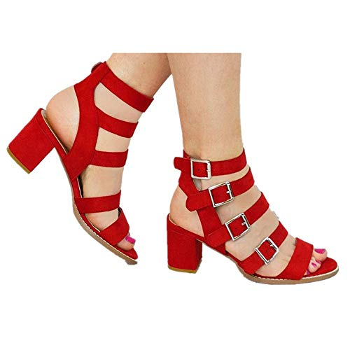 (Women's Chunky Heels Sandal Summer Gladiator Open Toe Casual Four Adjustable Buckle Strap Shoes (Red, US:5.5))