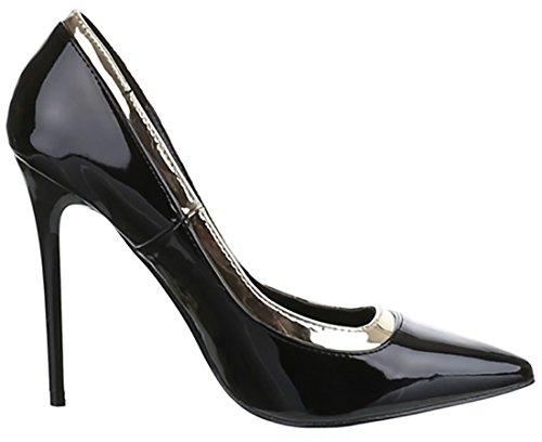 Eleganti Donna Donna Scarpe 10 Vernice Tacco Alte Altezza Nero Cm dB5xnqX