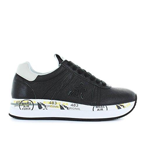 Premiata Vrouwen Conny2980 Zwart Lederen Sneakers