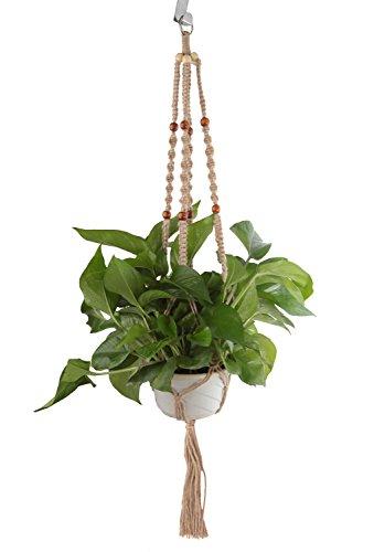UPmagic Macrame Plant Hangers Indoor Outdoor Hanging Planter Basket Four Hemp Rope 4 Legs 40 Inches (1)