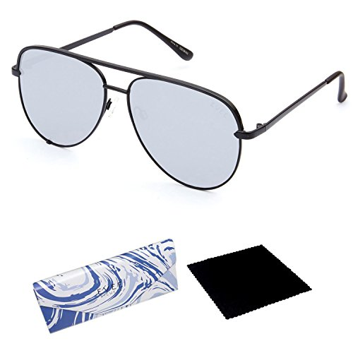 EVEE Fashionable Metal Aviator Sunglasses for Men with Flat Mirror Lenses + EVEE LIMITED EDITION CASE + MICROFIBER CLEANING CLOTH (E-GMPCBKWM) (Black, - Aviator Sunglasses Metal