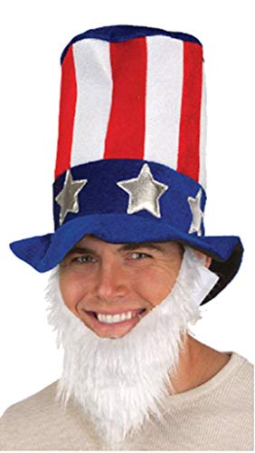 Jacobson Hat Company Mens Giant Uncle Sam Top Hat with Attached Beard