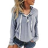 Women Hoodie Sweatshirt, Sttech1 Women Ladies Sweatshirt Hooded Long Sleeve Crop Lace up Long SleeveTop Coat Sports Pullover Tops (S, Gray)