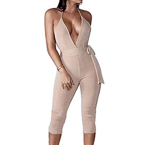 (YAMIC Womens Sexy Stretchy V Neck Party Suits Halter Open Back Sparkly Jumpsuit Romper Leggings L)