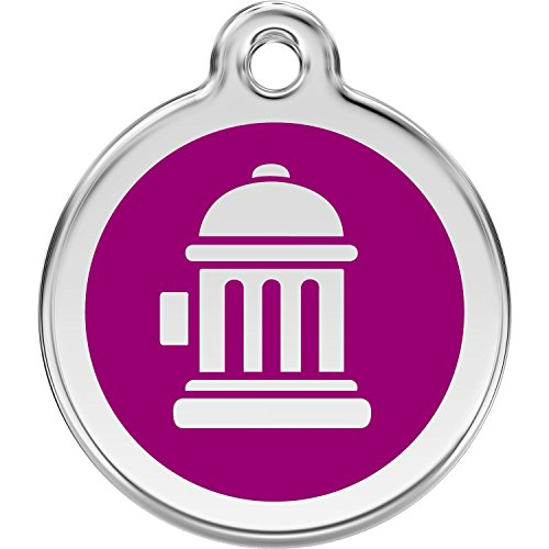 Fire Hydrant Pet Tag (Red Dingo Personalized Fire Hydrant Pet ID Dog Tag (Small Purple))