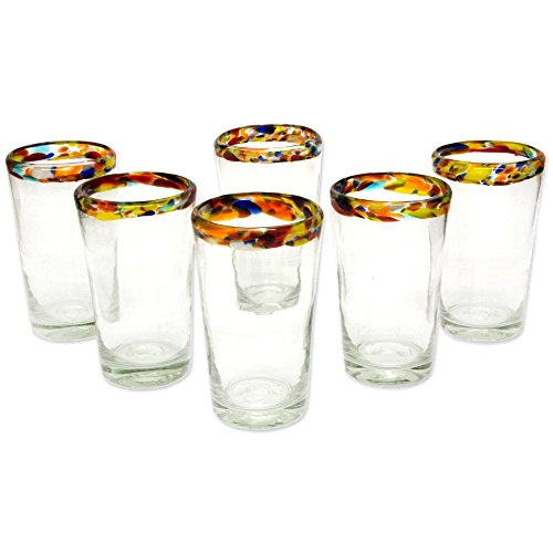 NOVICA Hand Blown Recycled Glass Confetti Rim Highball Glasses, 16 oz, Confetti' (set of 6) by NOVICA