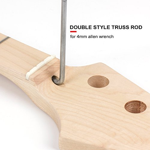 Electric Bass Guitar Neck for Fender Jazz Bass Parts Replacement Maple 21 Frets Bolt On Clear Satin From AK-music by Kmise (Image #2)'