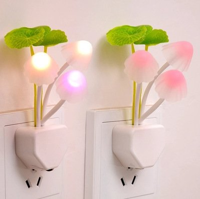 LED Night Light with Light Sensor, Hotsaleglobal 1 Pack Mushroom Lamp Color Changing Plug-in Night Lamp Energy Saving Wall Light for Kids Babies Adults and The Old (3 Pink Heads)