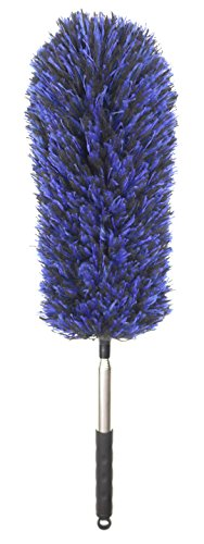 FoVo Straight Feather Duster Telescopic Pole Microfiber Duster Telescoping Handle Flexible Bendable Washable Hypoallergenic