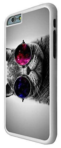 560 - Cute Cool Cat Sunglasses Funky Design iphone 6 Plus / iphone 6 Plus 5.5'' Coque Fashion Trend Case Coque Protection Cover plastique et métal - Blanc