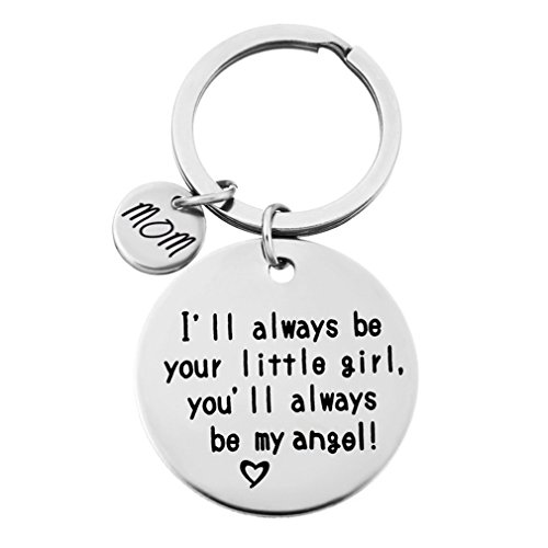 HENGSONG Plated Silver I Will Always be Your Little Girl,Youll Always be My Angel Girls Alloy Keychains Charms for Christmas Valentines Gift (Mom)