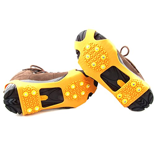Kalevel® A Pair of New Enhanced Version Cool Slip-on Over Shoe Studded Anti Slip Ice Spikes Ice Shoes Grippers Cleats Ice Traction Snow Traction Cleats Device Snow Grabbers Cleats for Shoes Boots Crampons for ice hiking boots shoes ice traction cleats for men women size small S (US 3-5,EUR 31-37) (Orange)