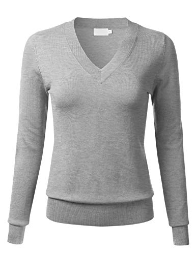 FLORIA Womens Soft Basic Thick V-Neck Pullover Long Sleeve Knit Sweater HEATHERGREY2 M
