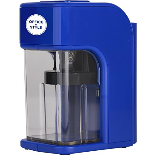 Electronic Pencil Sharpener With Auto Stop Safety Feature & Large Pencil Holder For Home, Office or Classroom - Blue - By Office + Style