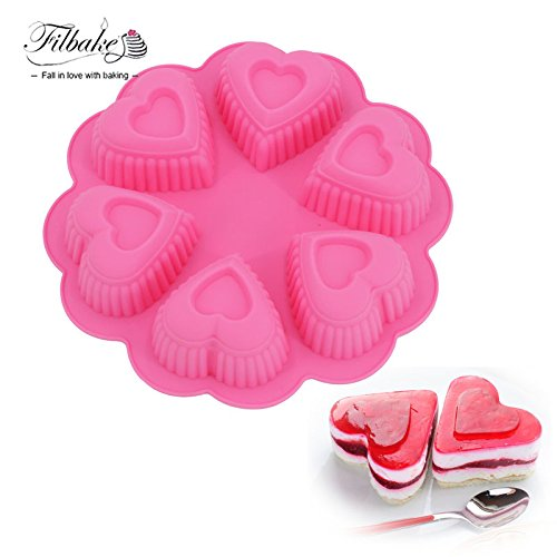 Star-Trade-Inc - 6 Cavity Double Heart 3D Silicone Mold Baking Moulds Soap Molds For Chocolate Mousse Dessert Fondant Decorating ()