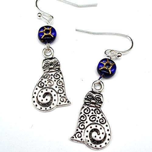 Dainty Silver Tone Kitty with Swirl Design Charm and Cobalt Blue Glass Bead Earrings Cat Lover Gift