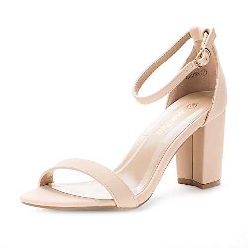 DREAM PAIRS CHUNK Women's Evening Dress Low Chunky Heel Open Toe Ankle Strap Stiletto Wedding Pumps Sandals Nude-Nubuck Size 7