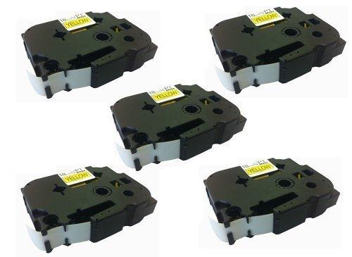 Eseller Direct ®, 5 x Kompatible Etiketten-Kartuschen für Brother P-Touch PT1900, 18° mm breit x 8° m lang, 5 Schwarz auf Gelb)