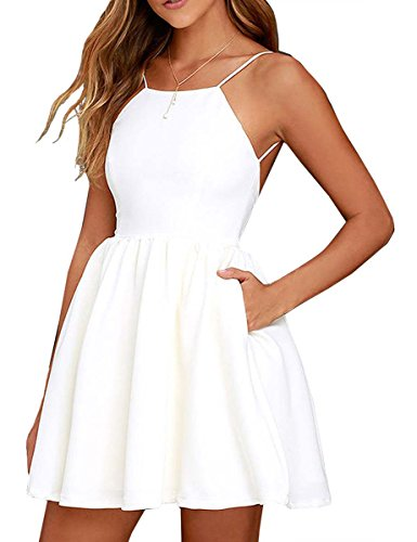 FANCYINN Women Sexy Backless Spaghetti Strap Floral Print Short Mini Casual Dress White L