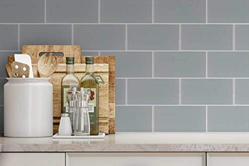 MTO0299 Classic Subway Brick Gray Glossy Glass Tile by Mosaic Tile Outlet (Image #2)