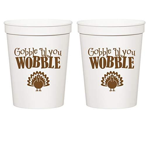 Thanksgiving White Plastic Stadium Cups - Gobble Til You Wobble Turkey (10 cups)