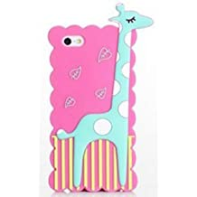 JBG Hot Pink iphone 4/4S Cartoon Giraffe Style Soft Silicone Case Cover Protective Skin Compatible for Apple iPhone 4 4G 4S