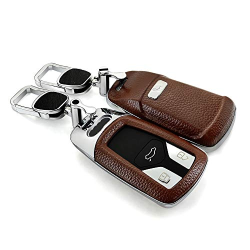 ontto Smart Car Key Cover Protector Shell Jacket with Keychain Fit for 2016 Audi Q7 A4L TT TTS (Brown)