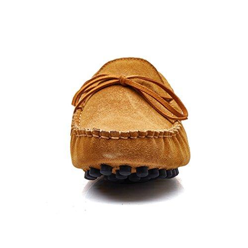 YY-Rui les hommes de glisser le cuir des chaussures plates conduite occasionnel confort Marron DcexBxs3