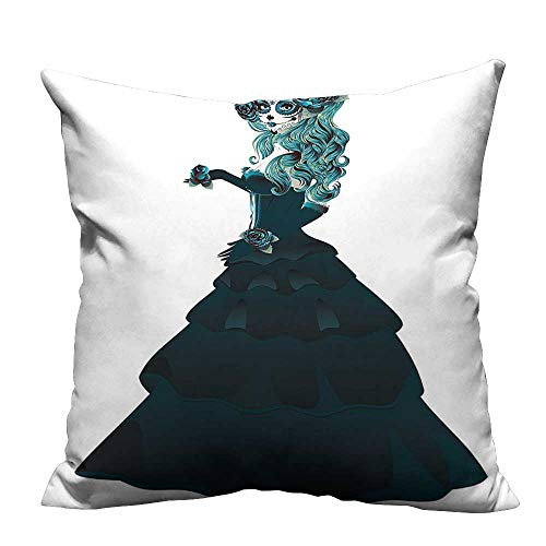YouXianHome Decorative Throw Pillow Case Dead Dia de Los Muertos Scary Girl Ball Dr Print Teal and Ideal Decoration(Double-Sided Printing) 11x19.5 inch ()