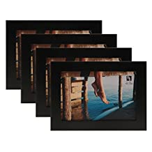 BorderTrends Jazz 4x6-Inch Solid Wood Photo Frame, Matte Black (4-Pack)