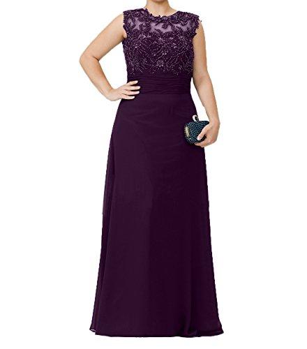 Charmant Perlen Chiffon Promkleider Brautmutterkleider Langes Partykleider Abendkleider Damen Pailletten mit Traube qH8Sq6rRx