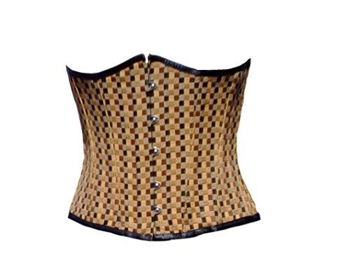増加する明るい怒りCotton Brocade Check Gothic Burlesque Waist Cincher Bustier Underbust Corset Top