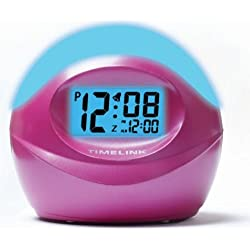 Timelink 88036 Color Changing Electric LCD Alarm Clock with Freeze Color Option / Pink Casing