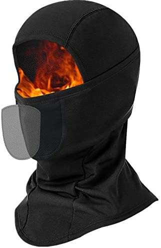 Balaclava Face Ski Mask with 2 Packs Filter, Fleece Thermal Full Face Covering Warmer Neck Gaiter for Men Women Skiing Snowboarding Motorcycling Black