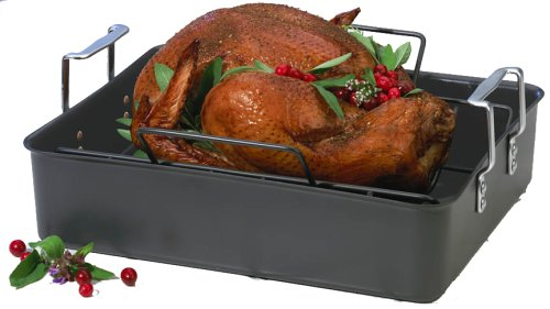 Calphalon Classic Hard-Anodized Aluminum 16-1/2-Inch Roaster with Nonstick Rack