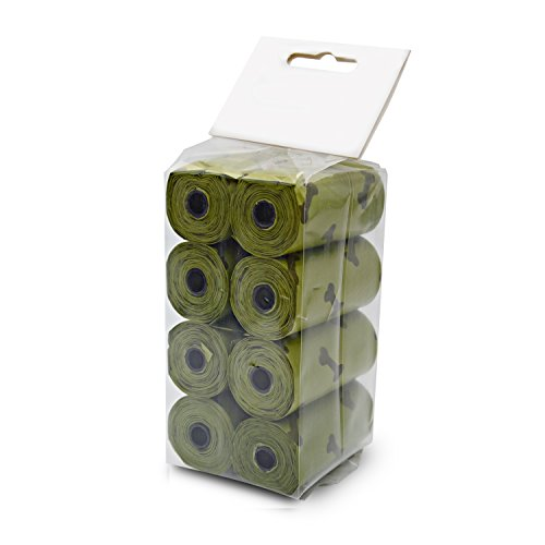 HOMEE Colourful Pet Excrement Collection Bag Portable Biodegradable Ecofriendly Durable Disposable Degradable Compost Pick Up Dog Poop And Cat Waste Ecofriendly Quickly - 8 Rolls (Green)