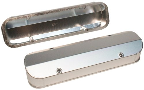 PRW 4045500 Satin Silver Anodized Aluminum Fabricated Valve Cover with Fabricated Billet Rail for Pontiac 201-455 Cylinder Heads - Rail Cylinder Head