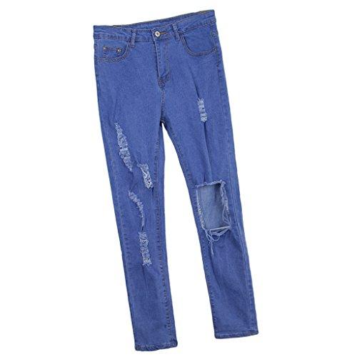 Homyl Pantalones Lápiz de Mujer Mezclilla Vaqueros de Denim Delgada Apariencia Cómodo Azul