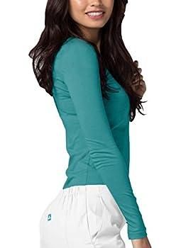 Adar Womens Comfort Long Sleeve T-shirt Underscrub Tee - 2900 - Aqm - S 2