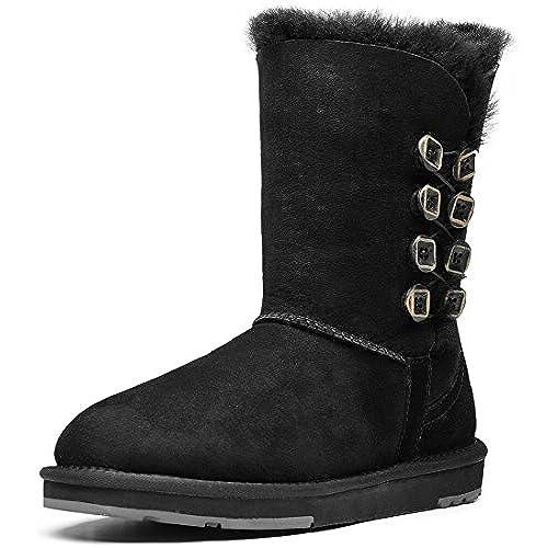 AUMU Womens Buttons Mid Calf Flat Boot Winter Shoes