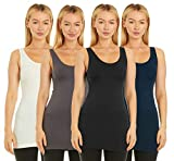 Unique Styles Seamless Tank Top Stretch Camisole Layering Top Regular Plus Size Pack of 4 (One Size Fits Most, Black, Grey, Navy, Ivory)