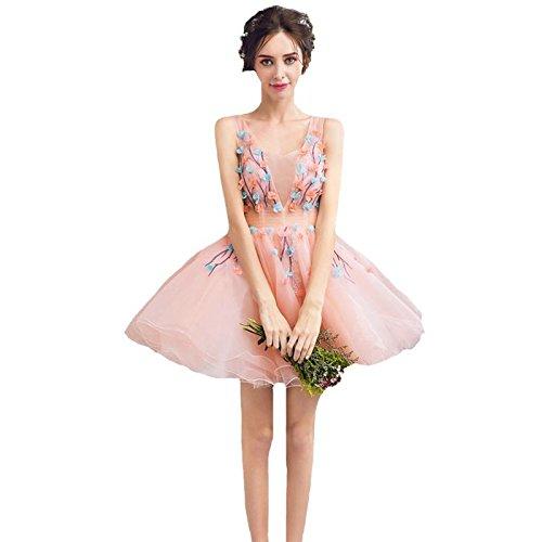 Robe Partie Robes Rose En De Sun Fleur 8 Mini Courtes De Douce Robes 6 V Banquet Soirée Jeune Fille Cocktail Goddess Dentelle Col xXqq5UrwAz