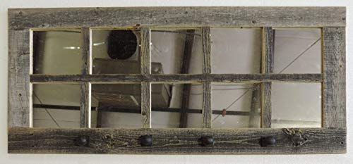ABW Decor Long (36.5 X 18 Inches) 10-pane Rustic Window Mirror With Decorative Coat Hanger Hooks, Farmhouse Entryway Wall Decor, Wooden Hallway Window, French Country Kitchen Apron Rack. AllBarnWood ()