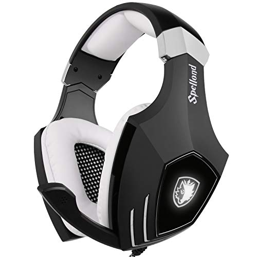 SADES A60/OMG Gaming Headset Over Ear Stereo Surround Sound Heaphones with Microphone Noise Isolating Volume Control LED Light for PC & MAC (White/Black)