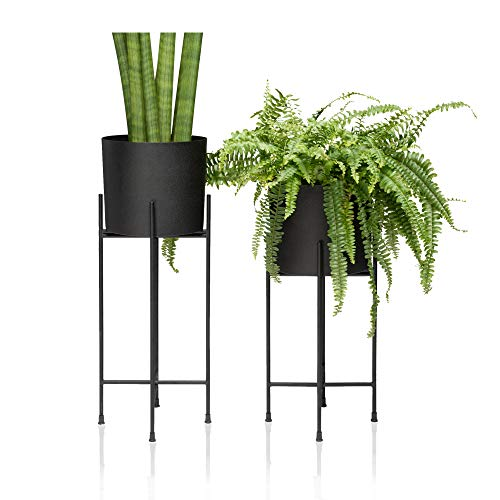 Kimisty Set 2 Modern Mid Century Black Planters with Stand | 7 Inch Large Planter Pots with Metal Stands | Flower Pot Living Room Decor | for Orchid, Aloe, Large Cactus Plants | 16 & 20 Inch Tall ()