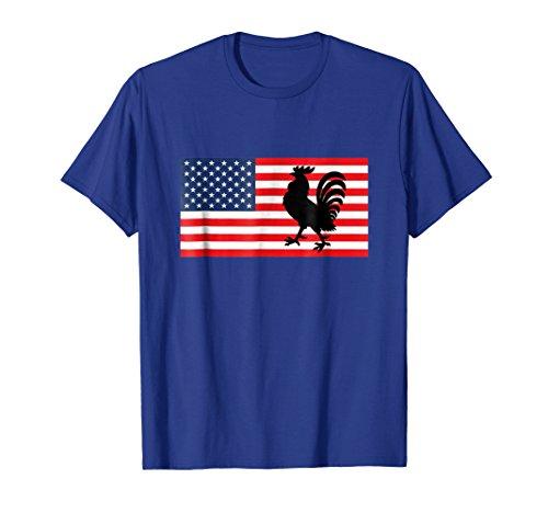 Mens USA flag American Rooster Love T-Shirt Gift Men Women & Kids XL Royal Blue